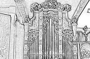 Dibujo del órgano de Santa Inés