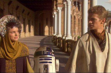 Un fotograma de Star Wars rodada en la Plaza de España de Sevilla.