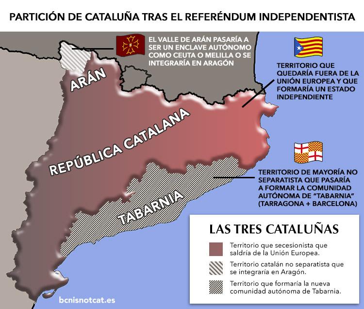 Mapa de cómo quedaría Cataluña dividida