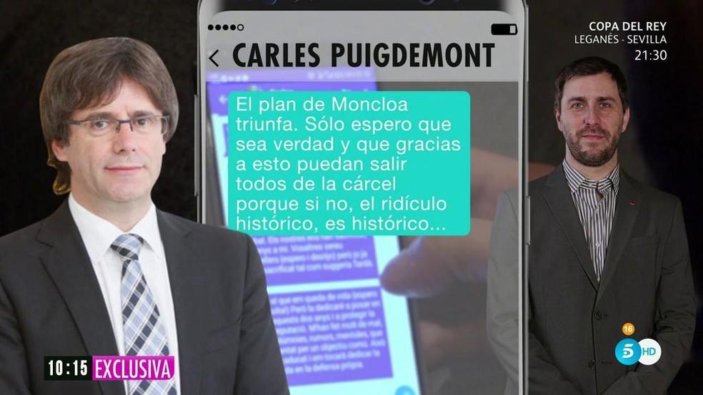 Mensaje de Puigdemont difundido por Tele5
