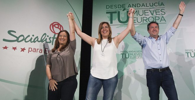 Susana Díaz, Verónica Pérez y Juan Espadas