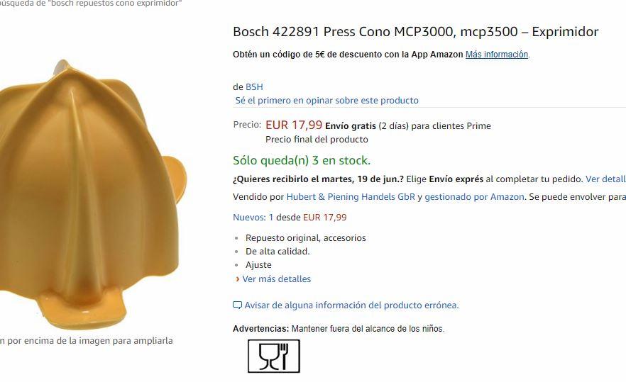 El cono del exprimidor en la página web de Amazon