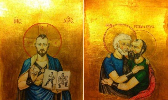 Dos tablas blasfemas con imágenes religiosas