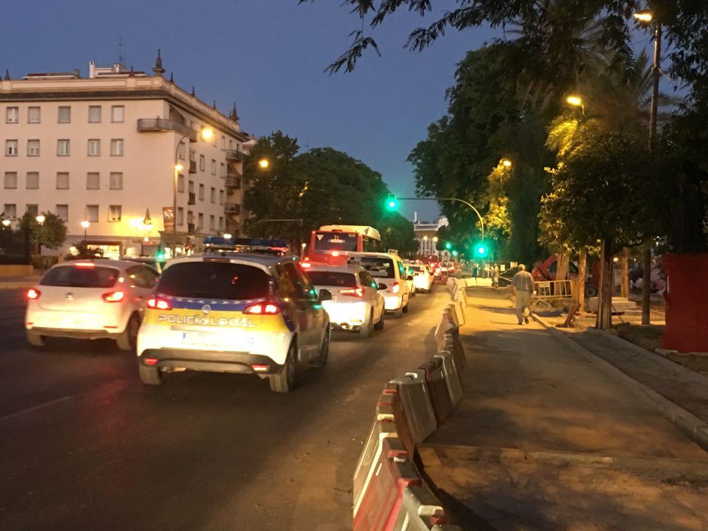 Taxistas de Sevilla en huelga por el paseo Colón