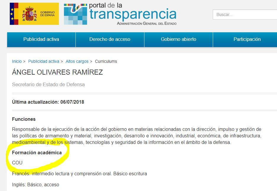 Ficha del portal de la Transparencia del nuevo secretario de Defensa Ángel Olivares Ramírez