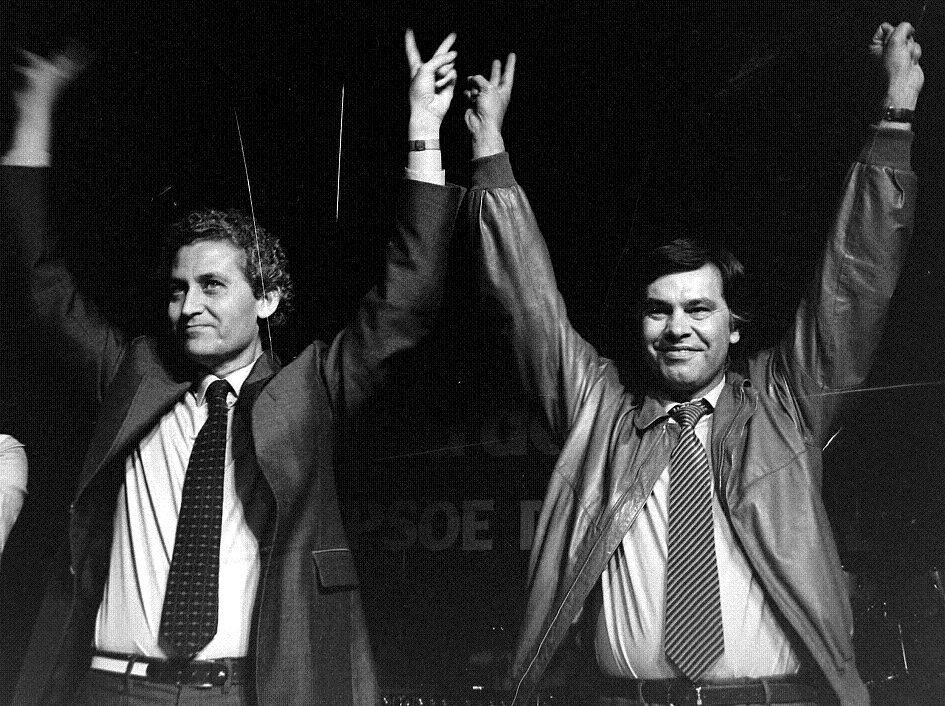 Rafael Escudero, primer presidente de la Junta de Andalucía, junto a Felipe González