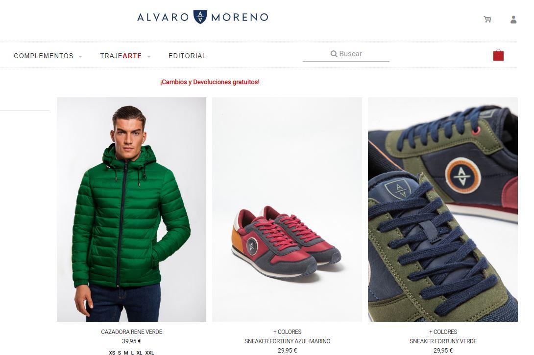 Página de la firma Álvaro Moreno que vende también por internet