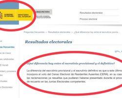 """Interior ignora a la JEC e induce en su web a más """"errores"""" graves en el recuento de las eleccionesLa JEC insiste desde hace años en quién y cómo han de recontarse los resultados"""